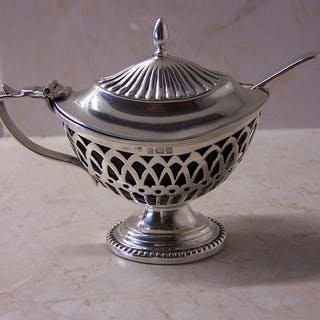 Mustard jar with spoon - .925 silver - Cornelius Saunders...