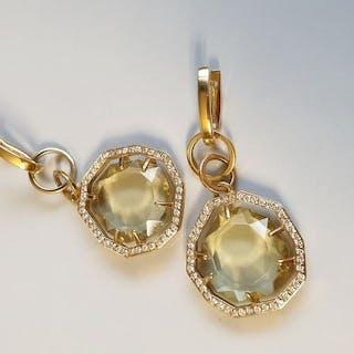 18 carati Oro giallo - Orecchini - 1.35 ct Diamante - Quarzo citrino