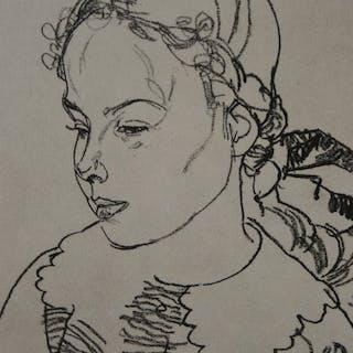 Egon Schiele (1890 - 1918)-Mädchenbildnis 1918.
