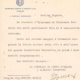 General Giovanni Girolamo Romei Longhena - Autograph...