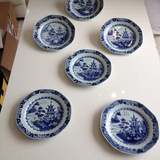 blau weiße chinesische Porzellanteller (6) - Porzellan - Pagode - China - 18