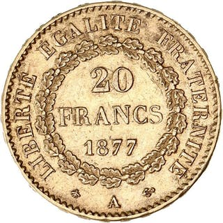 France - 20 Francs 1877-A Génie - Gold