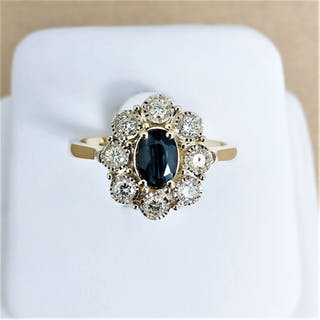 14 kt. Yellow gold - Ring - 0.67 ct Sapphire - Diamonds
