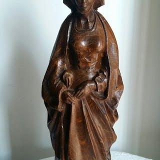 Grande statua in legno intagliata a mano (1) - Quercia - Inizio XX secolo