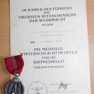 Deutschland - 3.Reich - Originale Ostmedaille+ Urkunde 5.Art.Regt.344 - 1942