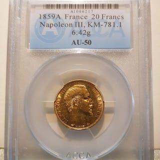 France - 20 Francs 1859-A Napoléon III - Gold
