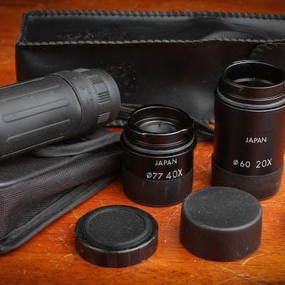 1 Monocle 8 X 21  très bon + 2 Oculaires de télescope Kowa série X20 et X40