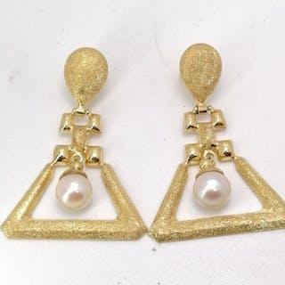 18 quilates Oro, Perla Akoya, akoya perla - Pendientes