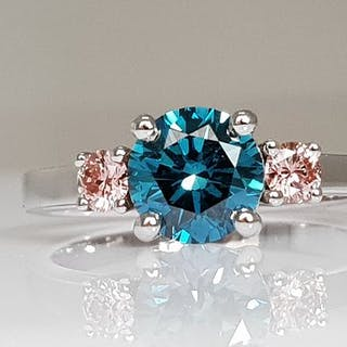 14 kt. White gold - Ring - Colour Treated 1.28 ct Diamond