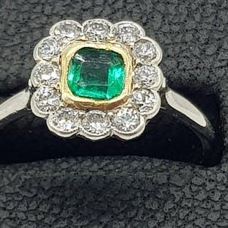 Platinum Emerald & Diamond Ring (1908) - 950 Platinum