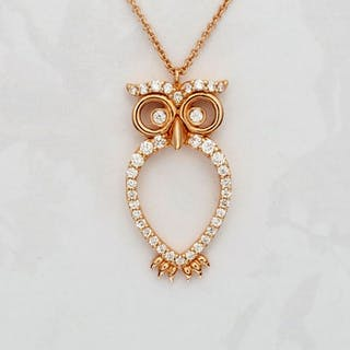 Leo Pizzo - 18 kt. Pink gold - Necklace with pendant - 0.26 ct Diamond
