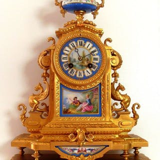 Cartel clock - France - Outstandinglarge Polychrome...