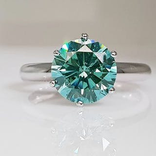 14 kt. White gold - Ring - Colour Treated 2.22 ct Diamond