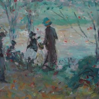 Harry Leslie Hoffman (1874-1966) - People walking to the sailing boats