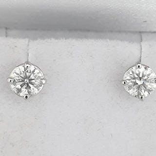 14 kt. White gold - Earrings - Clarity enhanced 1.06 ct Diamond