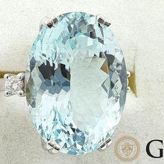 18 kt. White gold - Ring - 13.34 ct GIA certified...