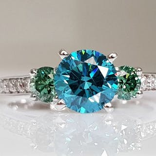 14 kt. White gold - Ring - Colour Treated 1.57 ct Diamond