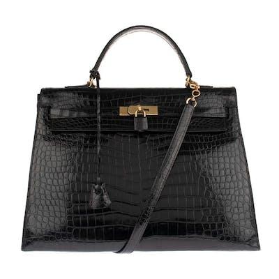 Hermès - Kelly 35 bandoulière en Crocodile Porosus noir Sac bandoulière