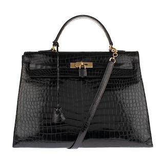 Hermès - Kelly 35 bandoulière en Crocodile Porosus noir Crossbody Tasche