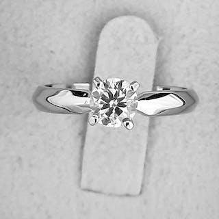 14 kt. White gold - Ring - Clarity enhanced 0.62 ct Diamond - E/VS2