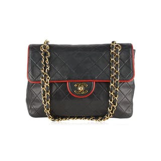 Chanel - Quilted Contrast Trim Flap Shoulder bag