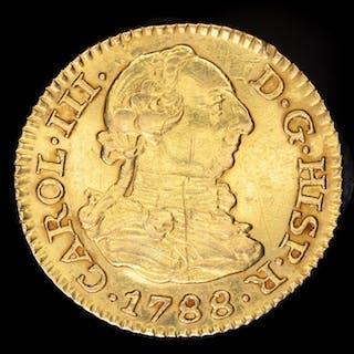 Spain - Carlos III (1759- 1788) - 1/2 escudos- 1788. Madrid. Ensayador M. - Gold