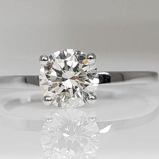 14 kt. White gold - Ring - Clarity enhanced 0.84 ct Diamond