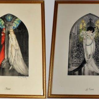Louis Icart (1888-1950) - Faust und Tosca - Paar aquateinte / Gravur Art Deco