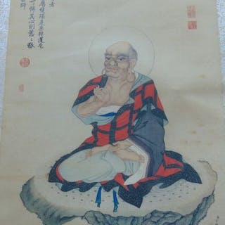 Chinese Qing Buddhist Lohan Watercolor Painting Silk...
