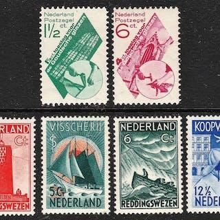 Niederlande 1931/1933 - Gouda glass and Seaman stamps - NVPH 238/239 en 257/260