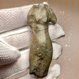 Ancient Roman Bronze Decorative Statuette-Torso of Venus, the Goddess of Erotic.