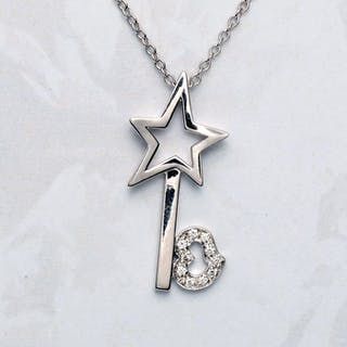 Leo Pizzo - 18 kt. White gold - Necklace with pendant - 0.05 ct Diamond