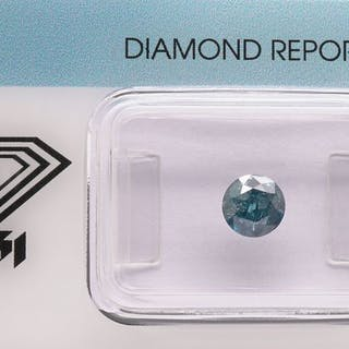 1 pcs Diamond - 0.78 ct - Round Brilliant - fancy deep...