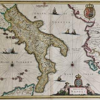 Italien, Campania, Napoli; Willem Blaeu - Regno di Napoli - 1621-1650