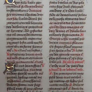 Manuscript; 3 sheets from a Breviary on vellum - XV century