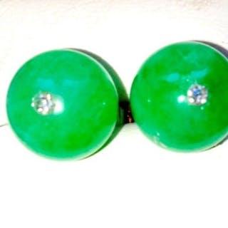 18 kt Gold - Ohrringe Jade-Jadeite - Diamanten