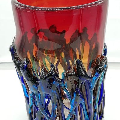 Vaso con fili colorati - Vetro