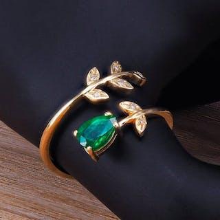14 kt. Gold, Yellow gold - Ring Emerald - Diamond