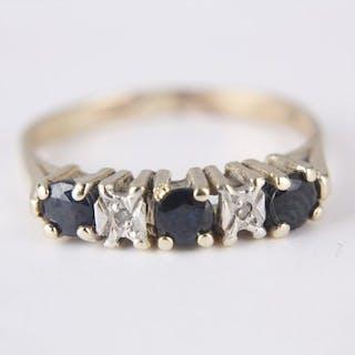 14 kt Gelbgold - Ring Saphir - Diamant