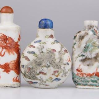 Tabatière (3) - Porcelaine - Dragon - Marque - Chine - Fin du XIXe siècle