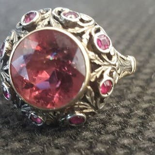 14 kt. Gold, Silver - Ring - 3.70 ct Tourmaline - Ruby