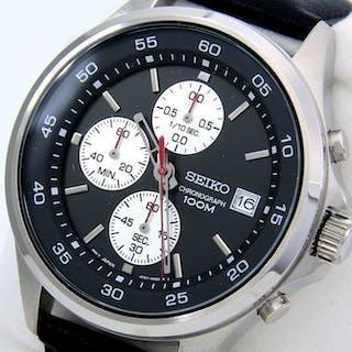"Seiko - Chronograph ""Sport Dial"" 100M Leather - - ""NO..."