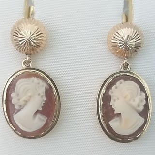18 carat gold and cameos lady of the time - Earrings