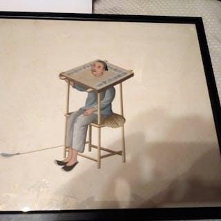 Watercolour (9) - Paper - Canton A rare set of 9...