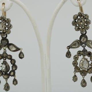 14 kt. Silver, Yellow gold - Earrings - 2.01 ct Diamond