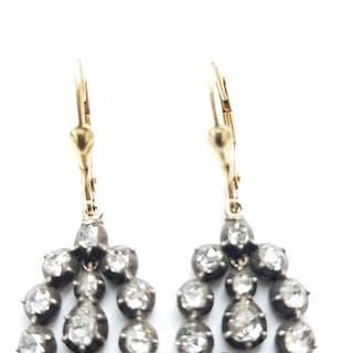 18 carats Argent, Or jaune - Boucles d'oreilles - 1.60 ct Diamant