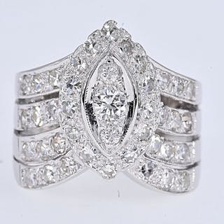 White gold - Ring - 1.22 ct Diamond