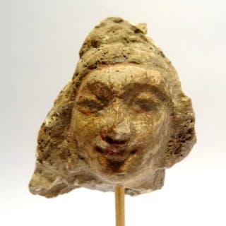 Gandhara Terracotta Head of Gandhara stucco - young woman - Buddhist Greek art