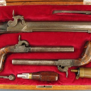 Belgium - Luik - Three cased pistols - Single Shot...