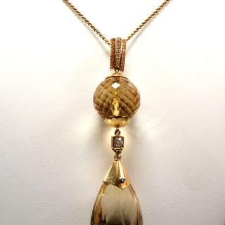 18 kt. Yellow gold - Necklace with pendant Citrine - Diamonds